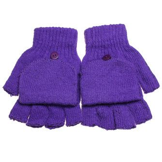 Men Women Knitted Thick Fingerless Gloves Warm Half Finger Flip Mittens at Banggood