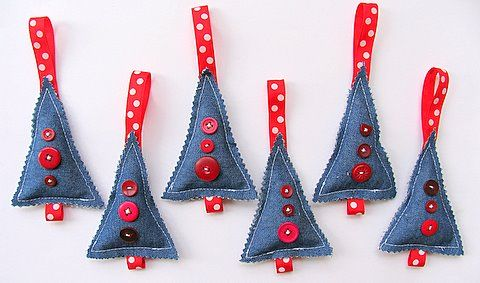 Christmas trees in denim I Made them for Christmas present