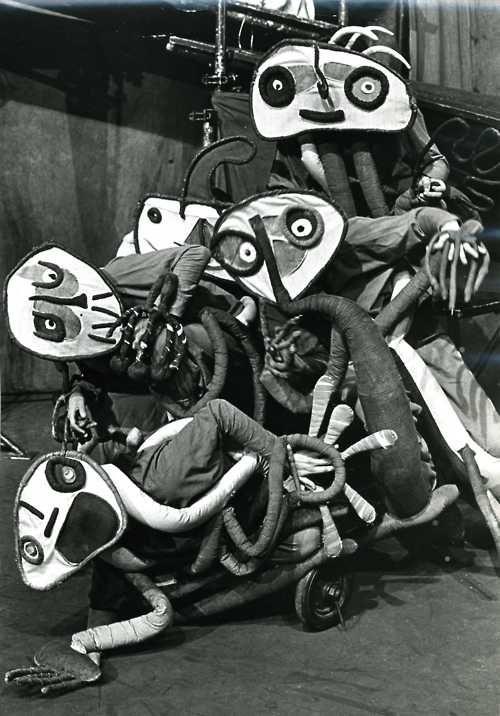 Amazing discarded newspaper photo of Joan Miro's Mori el Merma costumes 1978