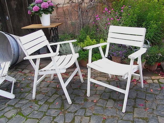 Spectacular Vintage Balkonm bel vintage Gartenstuhl Klappstuhl Holz Stuhl shabby ein Designerst ck von artdecoundso bei DaWanda
