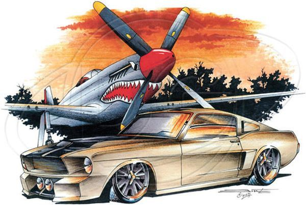 Tan Pony Car and Airplane WHITE Unisex T Shirt Brent Gill Design POS393