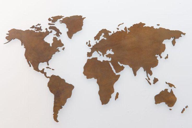 Weltkarte in Rost Optik als antike Wanddeko ✓ XXL Wandbilder aus Metall ✓ Unsere Weltkarte Rost Optik ✓ retro & romantisch – Style die Wand an!