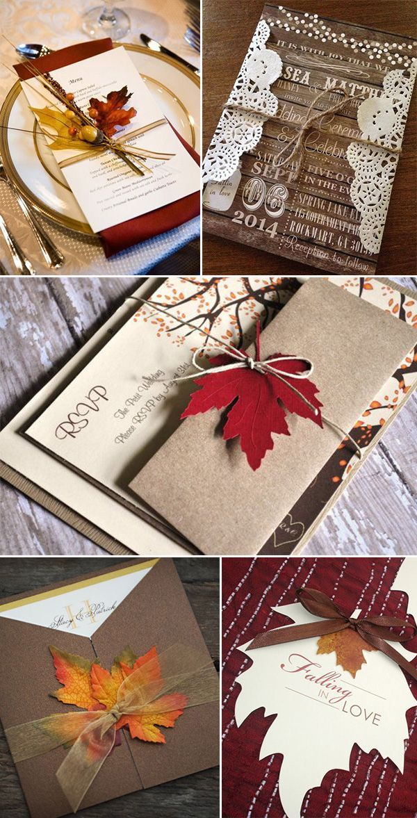 maple leaves inspired rustic fall wedding invitations