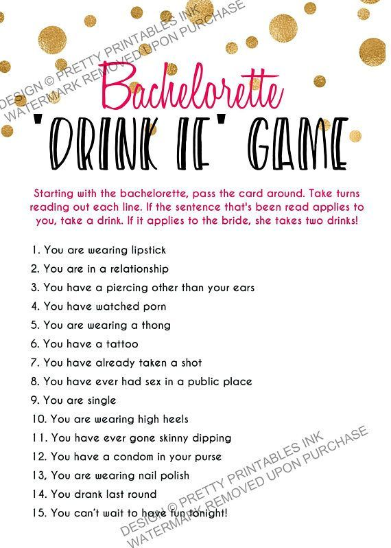 Printable Bachelorette Game Bachelorette Drinking Game