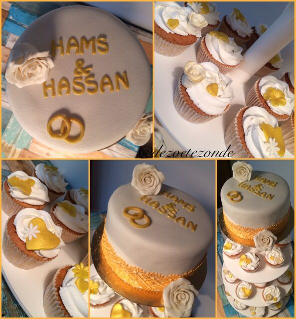 Gold and white cupcakes