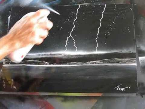 Spray paint art Spacepainting awesome lightning