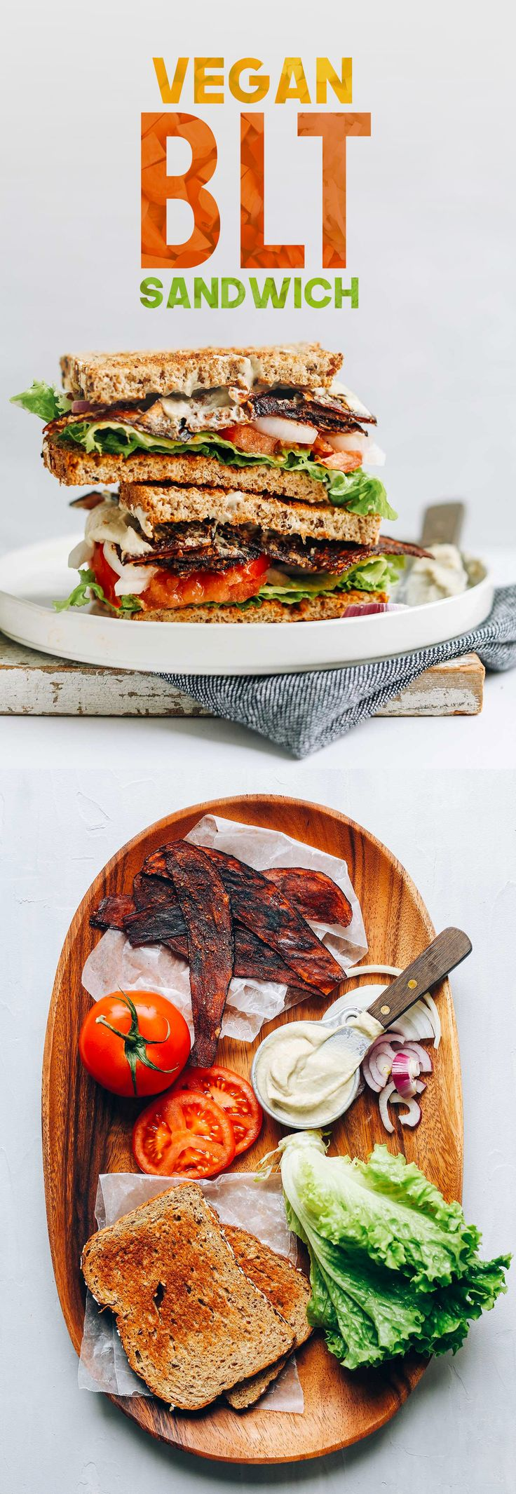 """6-Ingredient vegan """"BLT"""" sandwich made with vegan mayo and eggplant bacon"""