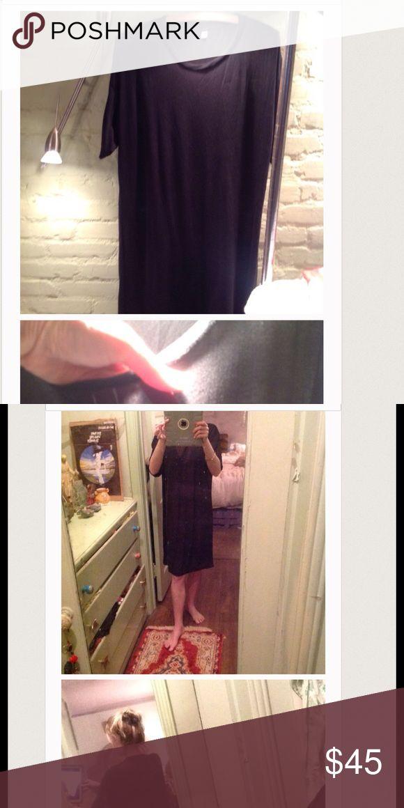 Back stocked OAK of NYC sheer black dress! New no tagsheer comfy black shirt dress of oak NYC sold in Saks 5th ave oak Dresses Midi