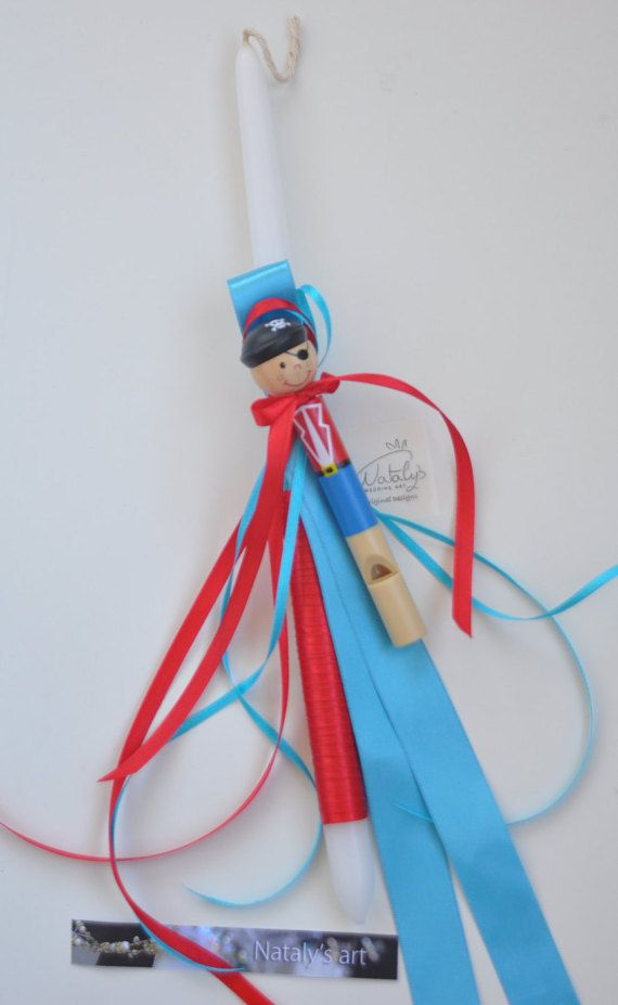 Greek Wedding Shop - Captain Pirate Whistle Easter Candle. Easter Lambades to hold the night of Anastaci. (http://www.greekweddingshop.com/captain-pirate-whistle-easter-candle/)
