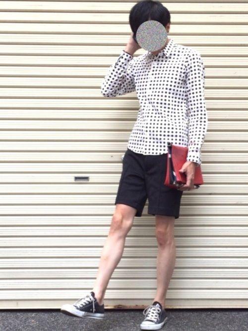 おはようございます☀️ 寒暖差があると着るもの悩みますね😅💦 今日はドットシャツ、黒ショーパン、