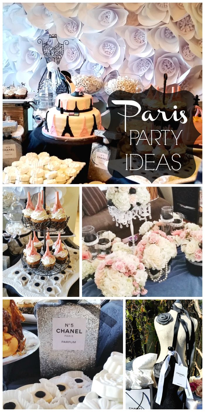 A Paris themed bridal shower with a gorgeous paper flower backdrop and Eiffel Tower cupcakes! See more party ideas at CatchMyParty.com!