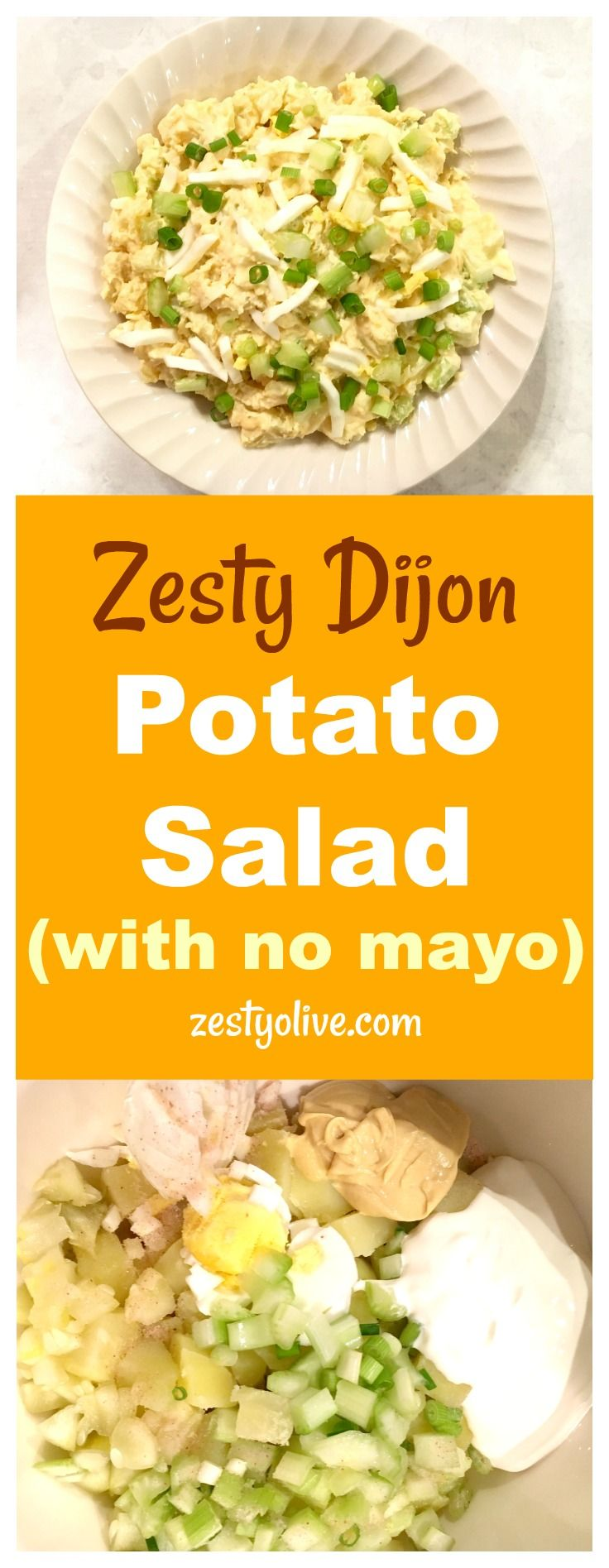 This Easy No Mayo Potato Salad Recipe is will become a favorite at your next picnic, BBQ or potluck. This potato salad is elevated by the spicy addition of Dijon mustard. Sour cream replaces the mayonnaise and the addition of egg, celery, green onions and dill pickle make this a zesty potato salad worthy of your next gathering. #potatosalad #dijon #food #salads #recipes #easyrecipes