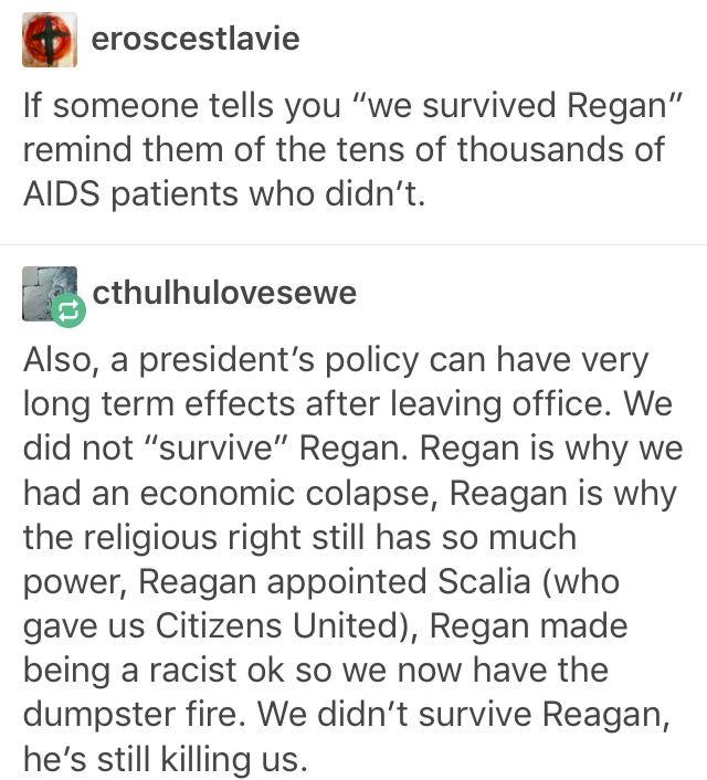 We didn't survive Regan; he's still killing us