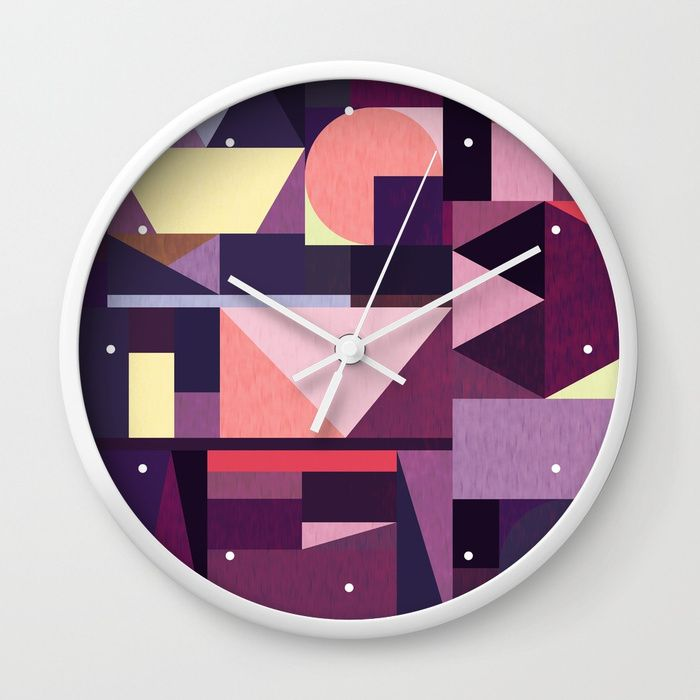 Kaku Purples Wall Clock by Fimbis   Purple, pattern, violet, geometric, abstract art, time, interior design,