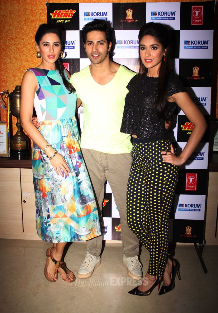 Ileana D'Cruz and Nargis Fakhri were spotted with their 'Hero' Varun Dhawan promoting their upcoming film 'Main Tera Hero' in Mumbai. #Style #Bollywood #Fashion #Beauty