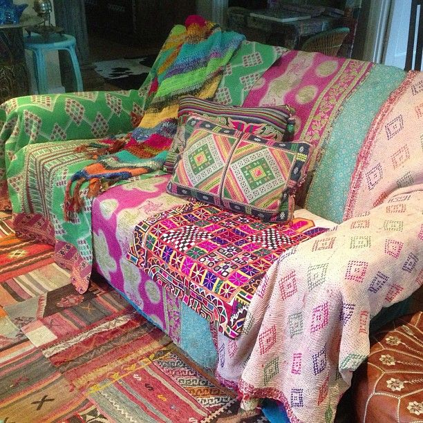 Make over your lounge suite! A few beautiful kantha quilts and vintage textile pieces. Add a some cushions and you'll have a bohemian look lounge in no time. Checkout all quilts and cushions online at www.gypsyriver.com.au