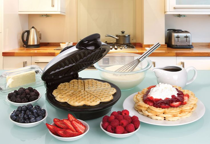 "Enjoy breakfast with the ones you love most! The Heart Shaped Waffle Maker makes five 8"" heart shaped waffles, just the way you like."