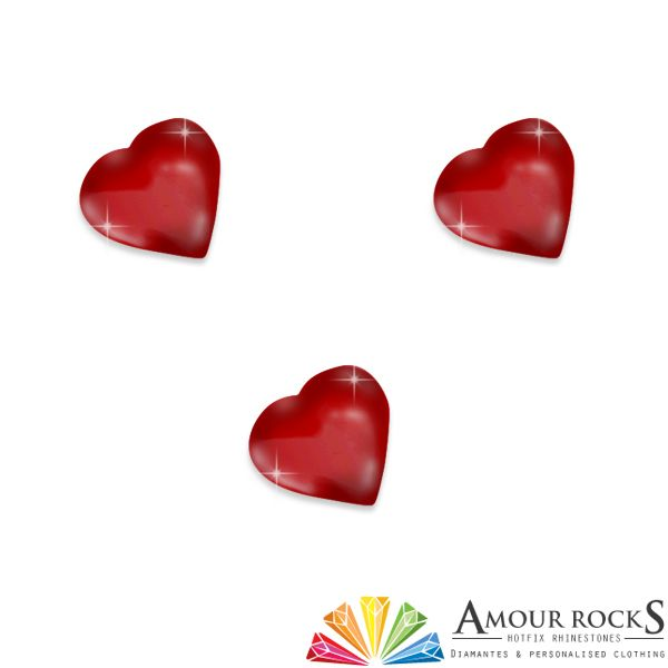 Love Heart Red Hotfix Rhinestone Shapes - Amour Rocks UK