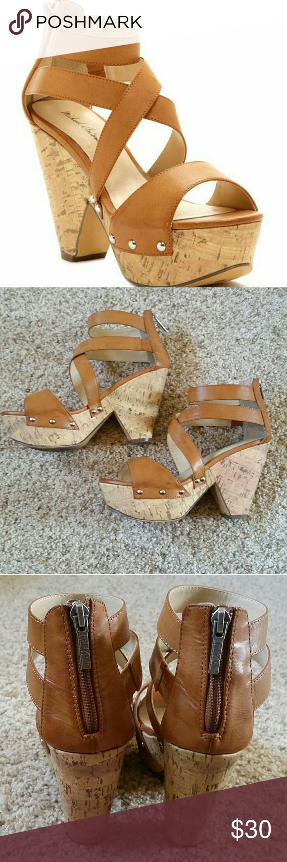 Michael Antonio Strappy Wedge Cork Sandals Excellent like new condition. Worn twice. Cork bottom. Wedge platform heel. Size 7. Perfect for spring and summer. Smoke and pet free home. Offers welcome! Michael Antonio Shoes Platforms