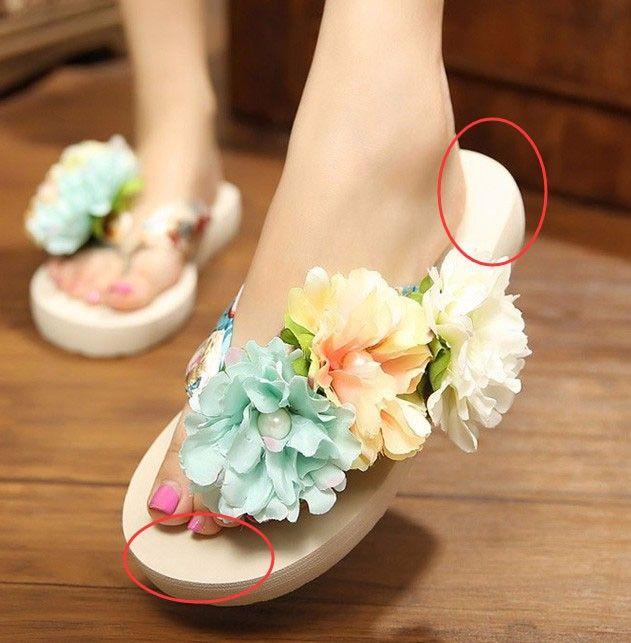 HEE GRAND Bohemia Flowers Woman Beach Flip Flops Summer Sandals Slip- Resistant Slippers Platform Sandal XWT290 - CattleyaStore CattleyaStore