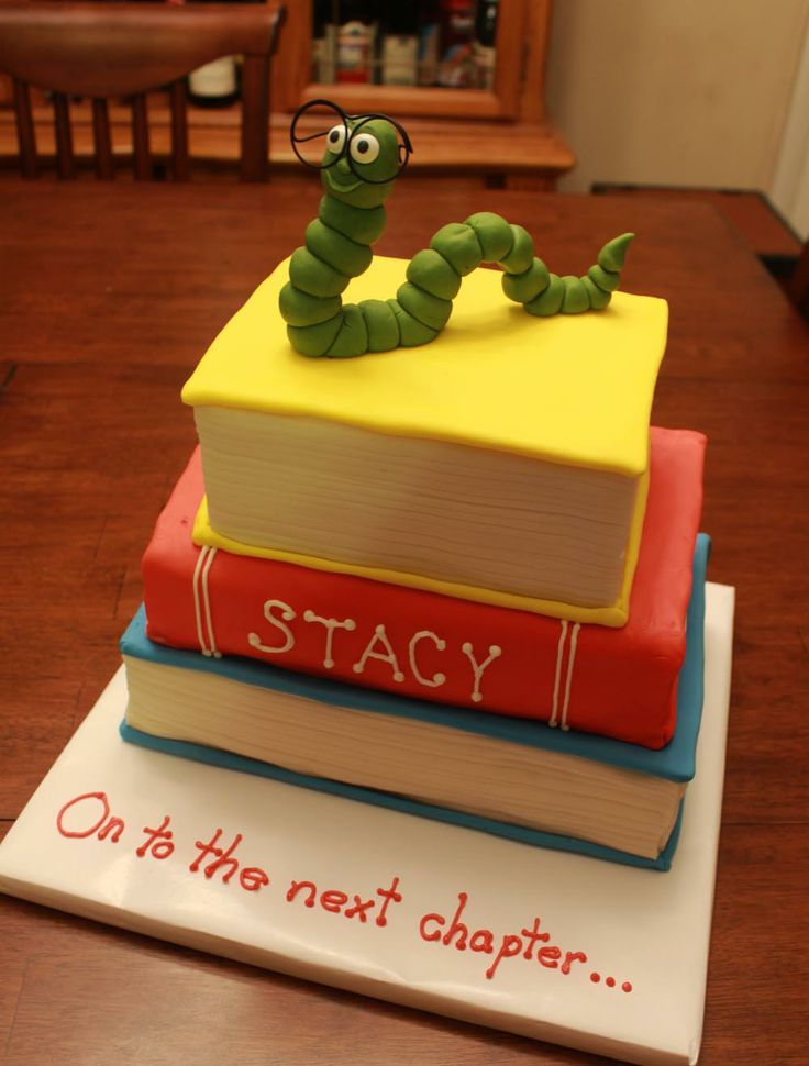 """Book worm cake for Stacy """"The Librarian""""..lol"""