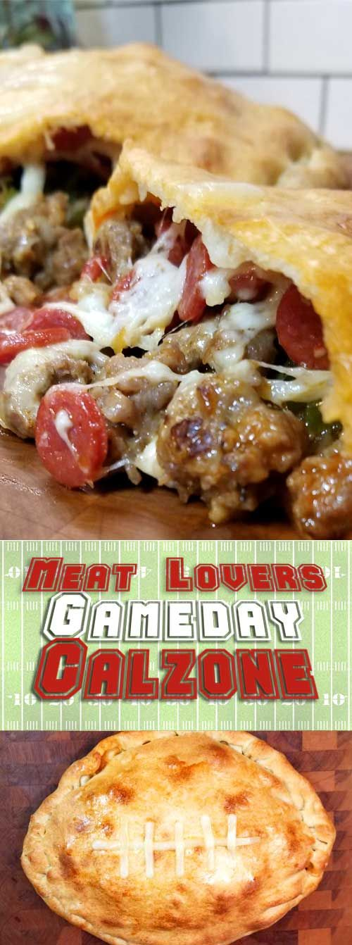 This Meat Lovers Gameday Calzone has all the fixings of a cheesy supreme pizza in a Football Calzone form. Fun to make and even more fun to eat! Perfect for a Super Bowl party or any gameday! #superbowlfood #partyrecipe #calzonerecipe via @sparklesofyum