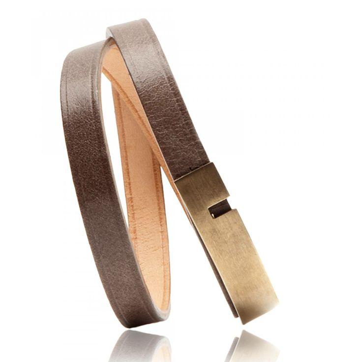 Mixed leather U-Turn twice red-brown bracelets - Ursul