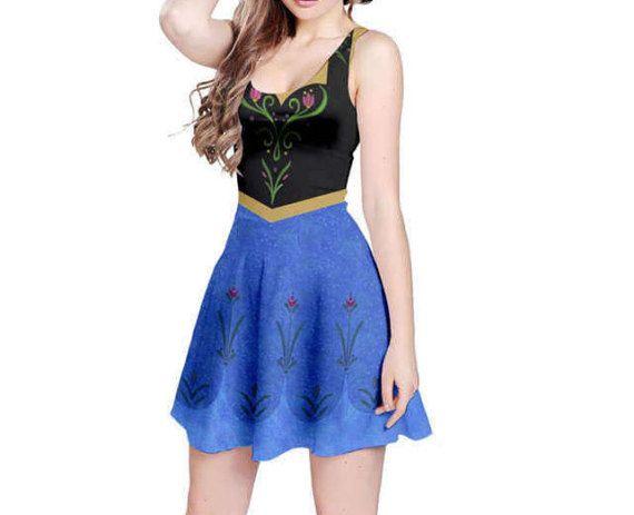 Anna Frozen Inspired Skater Dress by KawaiianPizzaApparel on Etsy