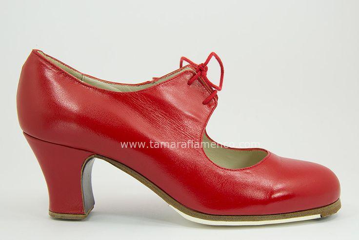 https://www.tamaraflamenco.com/es/zapatos-de-flamenco-profesionales-4 Zapato profesional de flamenco Begoña Cervera Modelo Cordonera piel rojo