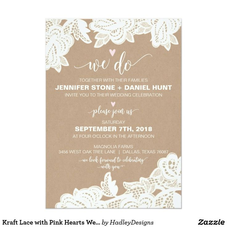 Kraft Lace with Pink Hearts Wedding Invitation