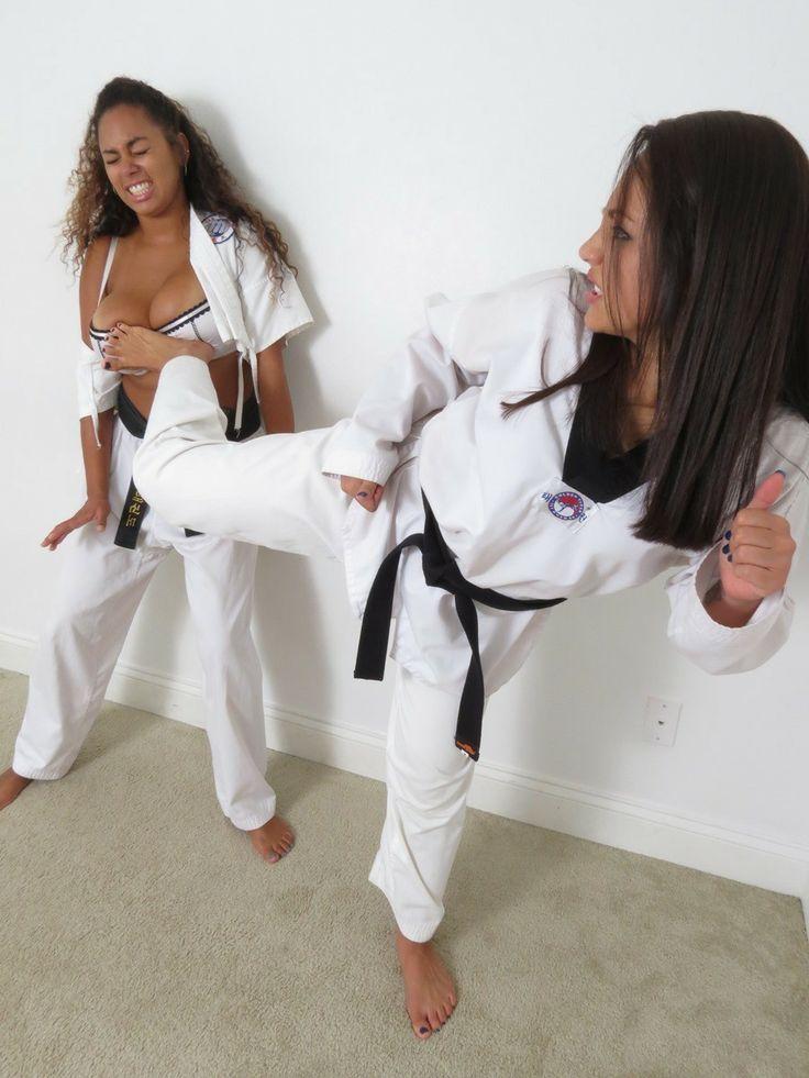 Karate girl on girl feet domination