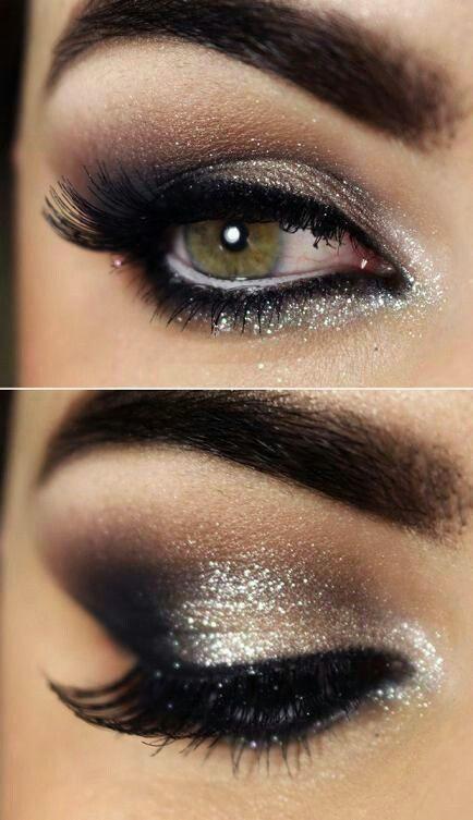 \\ Pinterest: @CrazyAssBitches // Gorgeous Silver and Gold Sparkle Eye Makeup