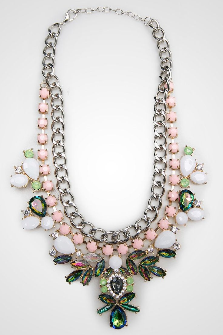 Lyla Necklace by ZOIE. Pretty necklace with gem and chain accent, with a combination of salem, green, silver and white. Pretty necklace to complete your look, perfect for evening party or to complete your casual look. http://zocko.it/LEXkw
