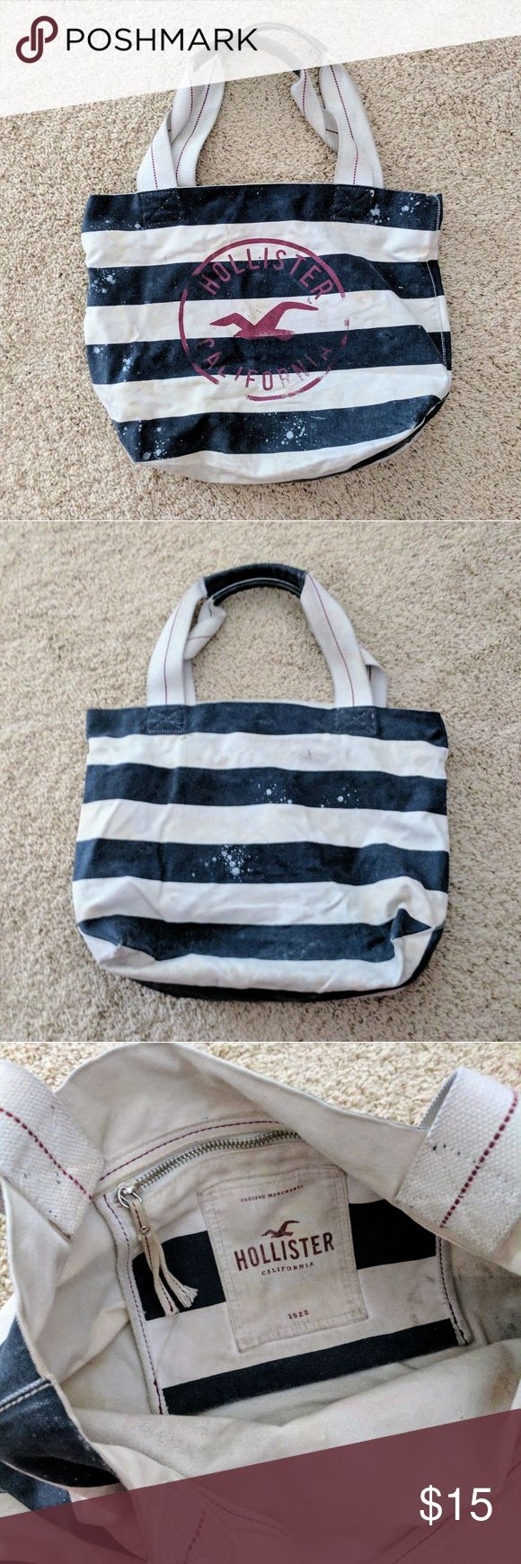 Price drop! Striped Canvas Hollister Tote Blue and white striped Hollister tote bag Has inside zippered pocket  This is a great bag! Only selling because I have way too many totes and need to clear some out! Used condition but still in great shape. Offers welcome! Hollister Bags Totes
