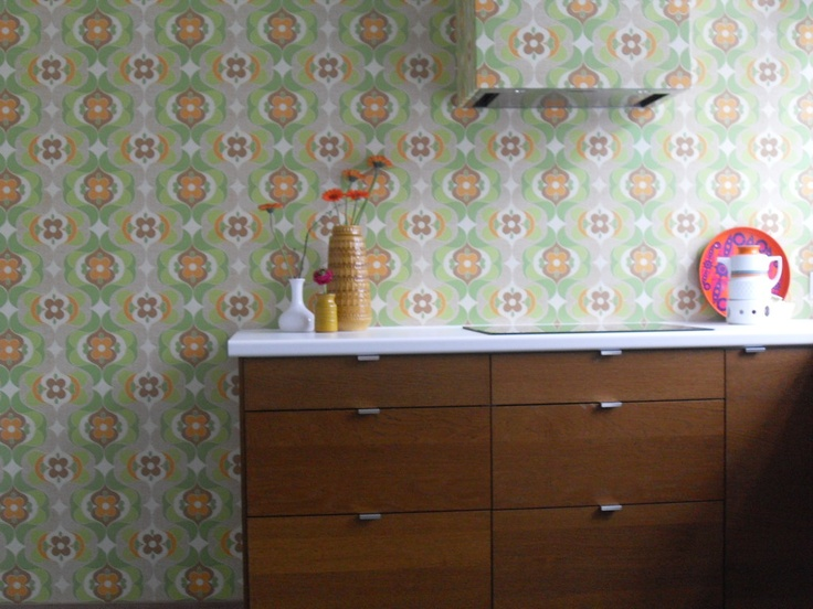 ikea kitchen and vintage wallpaper interior pinterest