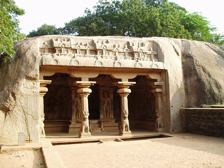 Varaha Cave Temple, an example of Indian rock-cut architecture dating from the late 7th century, is a rock-cut cave temple located at Mamallapuram, is a finest testimonial of anciest Vishwakarma Sthapathis, a tiny village south of Chennai in the state of Tamil Nadu, India.[1] Part of the Group of Monuments at Mahabalipuram, the temple is a UNESCO World Heritage Site
