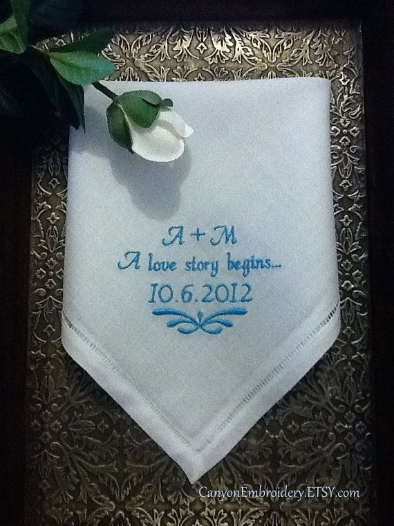 Embroidered Wedding Hankerchief A Love Story Begins Wedding Date Monogram Linen Hankie - By Canyon Embroidery on ETSY on Etsy, £19.25