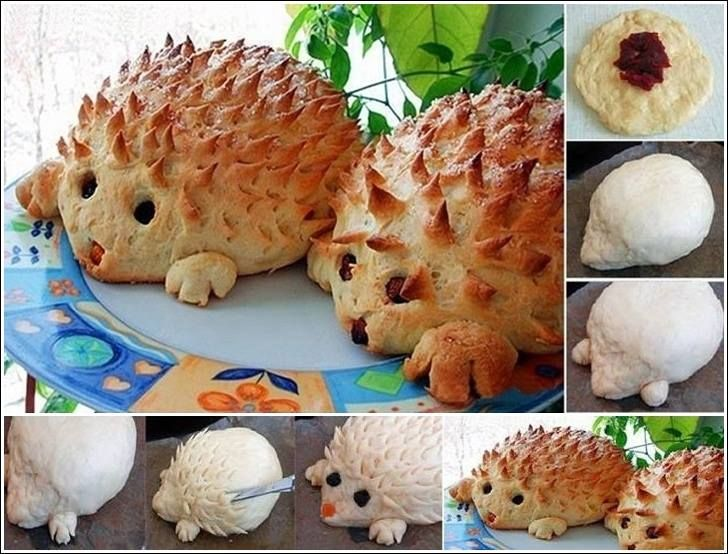 Hedgehog Rolls...  Breads are a favorite food when it comes to breakfast or tea time snacks. So here is one idea from which you can make a fun looking hedgehog. This roll, made of bread dough, with little creation, may look like a hedgehog. In the middle, we used jam (but cranberry sauce can also be used), while for the eyes and the nose, you can use raisins. Hedgehog needles are made with a pair of scissors.