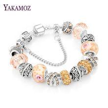 US $3.54 YAKAMOZ European Ribbon Charm Bracelet for Women Luxury Brand Crystal Beads Snake Chain Bracelets Silver Color Jewelry 2017. Aliexpress product