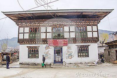 Pitture di parete del fallo sulla casa del bhutanese Fotografia Editoriale