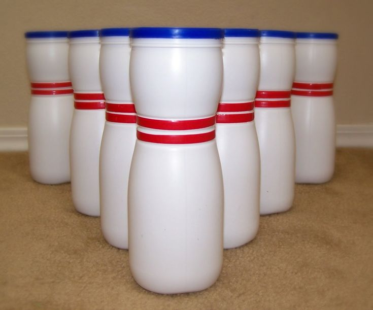 Bowling Pins made from empty Gerber puffs containers
