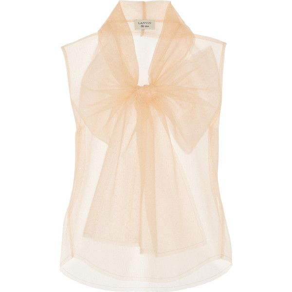 Lanvin Glitter-finished tulle top found on Polyvore