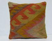 kilim fabric pillow 18x18 indie pillow boho chic throw pillow retro pillow cover…