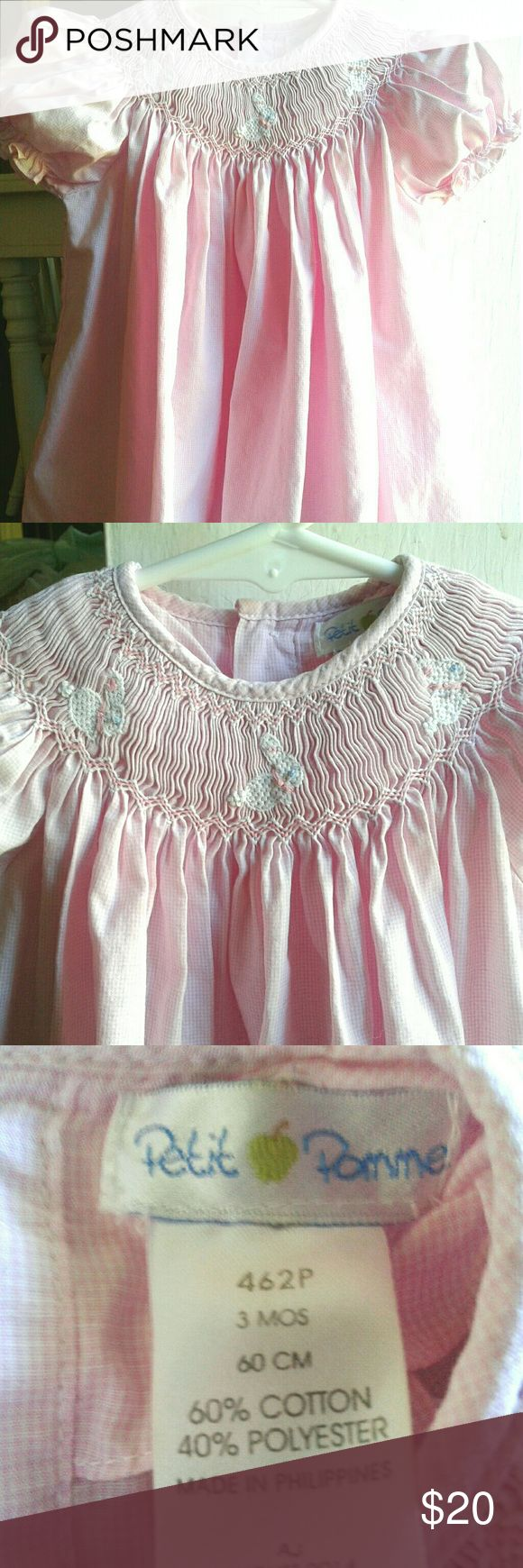 PETIT POMME Smocked Easter Dress Sz 3 Months GORGEOUS EASTER THEME DRESS, EMBROIDERED BUNNIES ON THE SMOCKING G. MI T CONDITION Petit Pomme Dresses