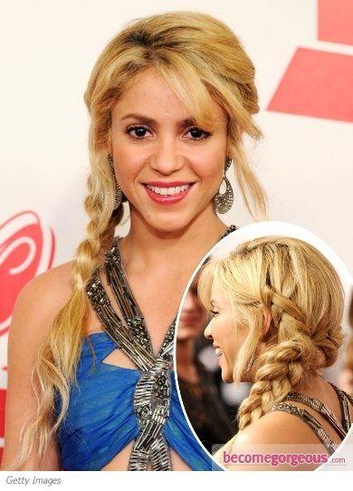 Pictures : Shakira Hairstyles - Shakira Side Braid Hairstyle
