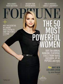 yahoo CEO Marissa Mayer on the cover of forbes magazine's 50 most powerful women, 2012 issue. it's great to see female engineers at the forefront of the tech industry. at 37, Mayer is the youngest female CEO of a fortune 500 company & the first to assume the job while pregnant.