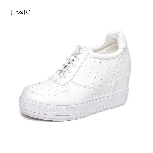 Short Boots Height Increasing White Wedge Sneakers For Girls PU Leather Lace-Up Shoes Woman Sneakers Platform Spring Autumn 5148