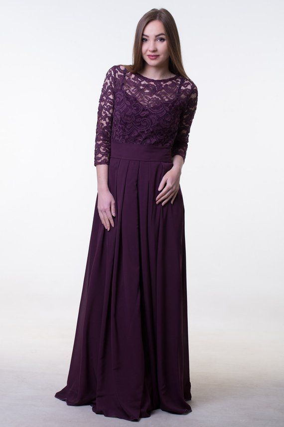 021e2cdce9 Dark purple bridesmaid dress. Long lace and chiffon dress with sleeves.  Modest prom dress. Special o