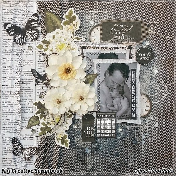 Amy's Pretty Papers: January 2016 Kit at ***My Creative Scrapbook*** Layout 1 + Playing at Kaisercraft January challenge