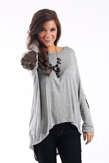 Up In Arms Top, Gray